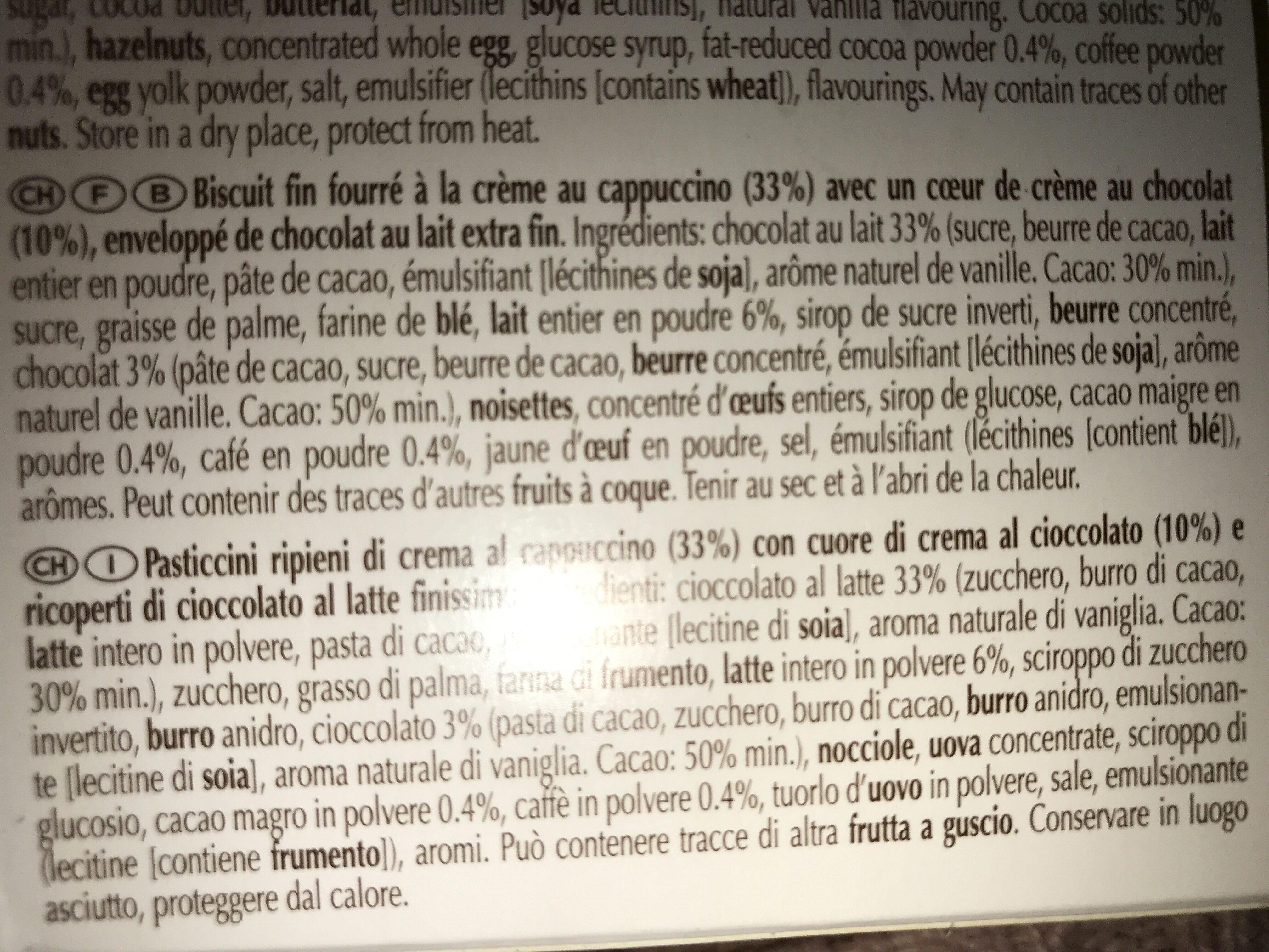 Petits plaisirs cappucino- chovolat au lait - Ingrediënten