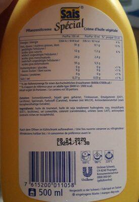 Crème D'huile Végétale Spécial Sais 50cl, 1 Bouteille - Nutrition facts
