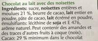 Milch-Nuss - Ingrédients - fr