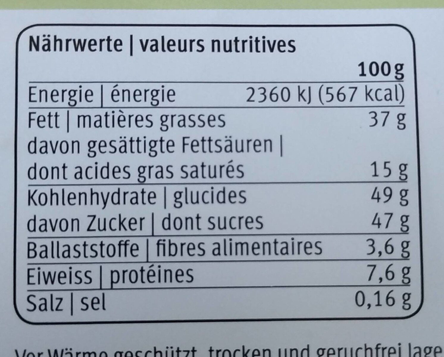 Milch-Nuss - Informations nutritionnelles - fr