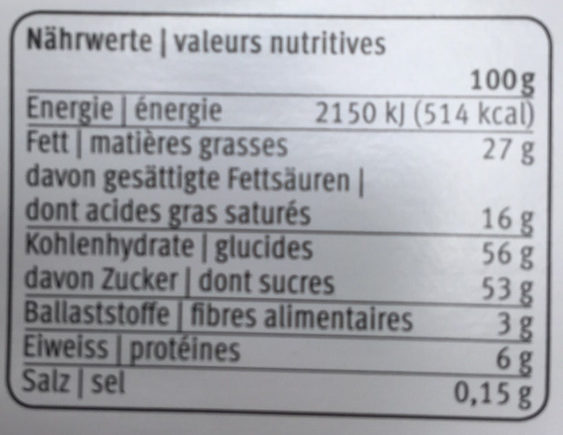 Rubaba - Nutrition facts - fr