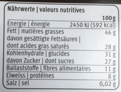 Noir Special 72 % Frey - Informations nutritionnelles