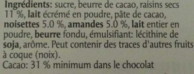 Chocolat Tourist - Ingrédients - fr