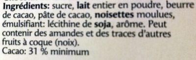 Katzenzüngli, Vollmilch - Ingredienti - fr