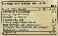 Katzenzüngli, Vollmilch - Voedingswaarden - fr