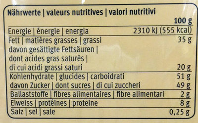Katzenzüngli, Vollmilch - Informazioni nutrizionali - fr
