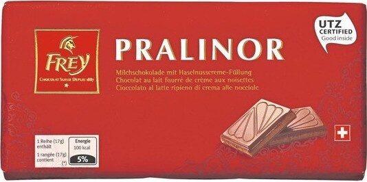 Pralinor Délicieux chocolat au lait fourré à la crème de noisette - Prodotto - fr