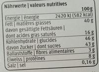 Pralinor Délicieux chocolat au lait fourré à la crème de noisette - Informazioni nutrizionali - fr