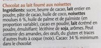Les Adorables Frelitta Chocolat au lait fourré aux noisettes - Ingrediënten - fr