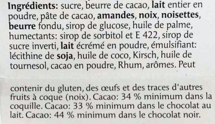 Pralines du Confiseur - Ingrédients