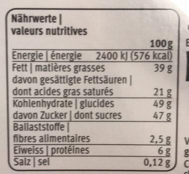 Prestige Chocolat Créations Exquises Des Chocolatiers Suisses - Informations nutritionnelles