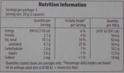Extra Dark 85% Chocolate - Nutrition facts - en