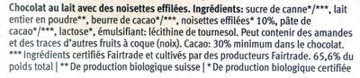 Chocolat Lait Noisettes Migros Bio - Ingrediënten
