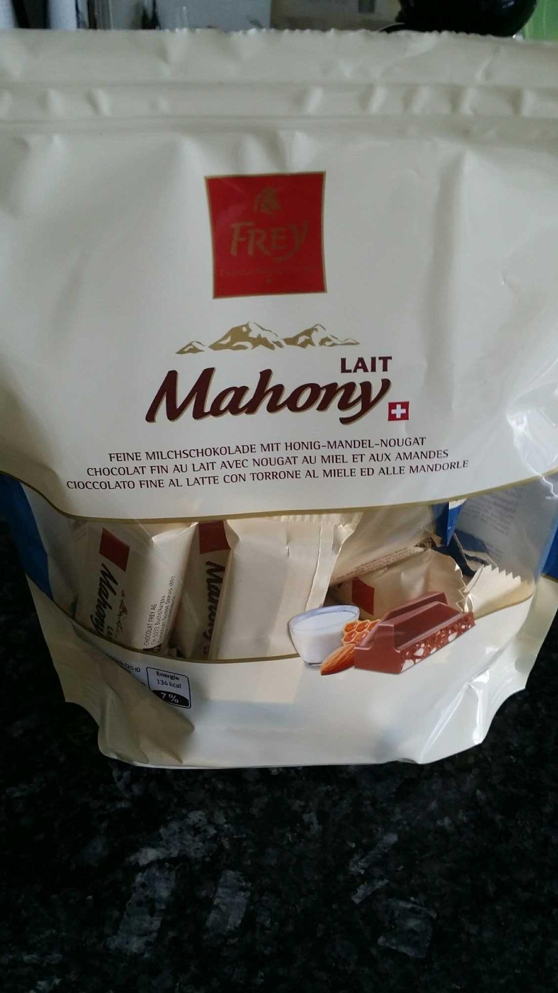 Mahony chocolat fin au lait avec nougat, miel, amandes - Product