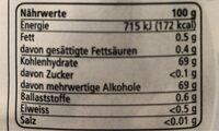 Gum mint flavour - Informazioni nutrizionali - fr