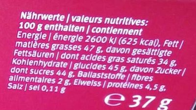 Adoro Lait - Nutrition facts - fr