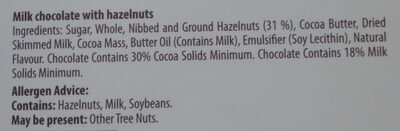 Milk chocolate with hazelnuts - Ingredients