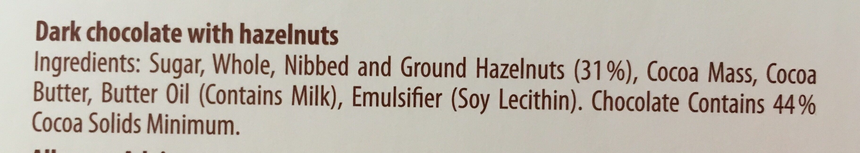 Dark crunchy hazelnut - Ingredients - en