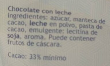 Chocolate con leche - Ingredients - es