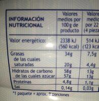 Chocolate con leche - Nutrition facts - es