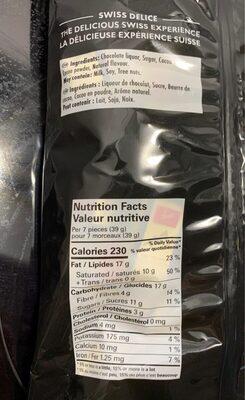 Petits suisses dark 72% - noir - Informations nutritionnelles - en