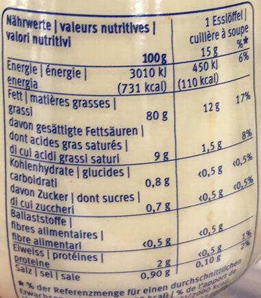 Mayonnaise à la française - Voedingswaarden - fr