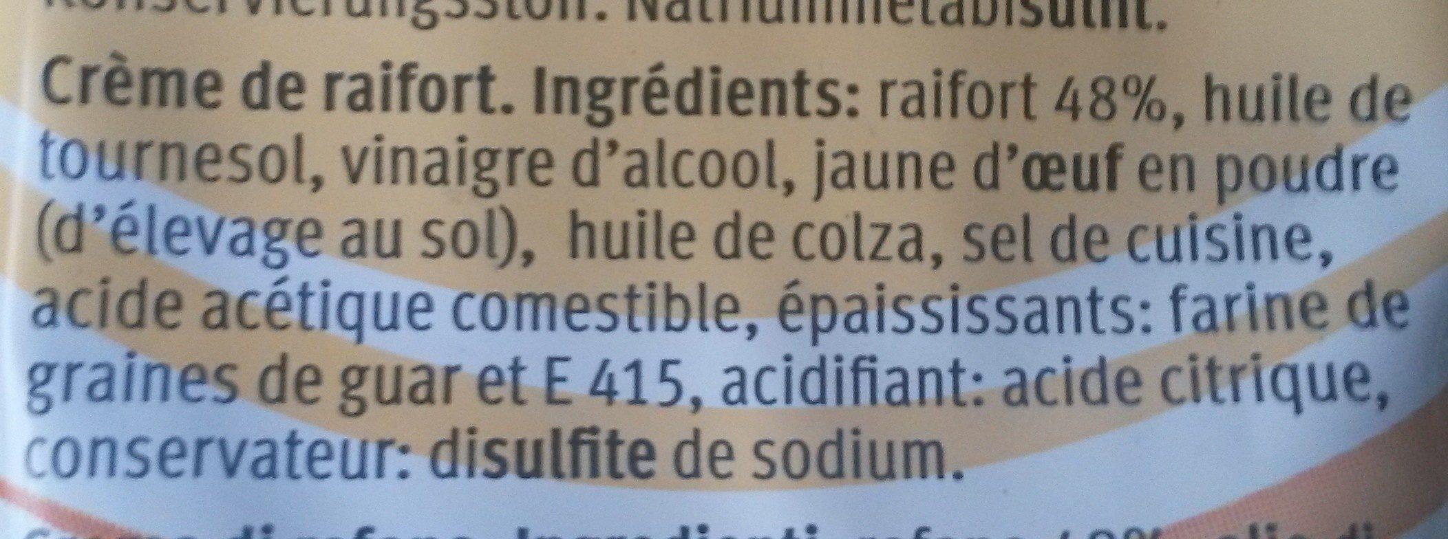 Crème de raifort - Ingredients - fr