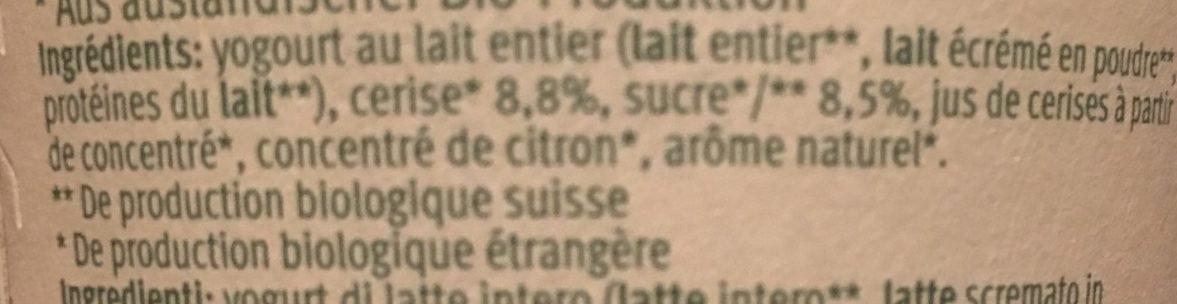Cerise Yogourt - Ingredients - fr