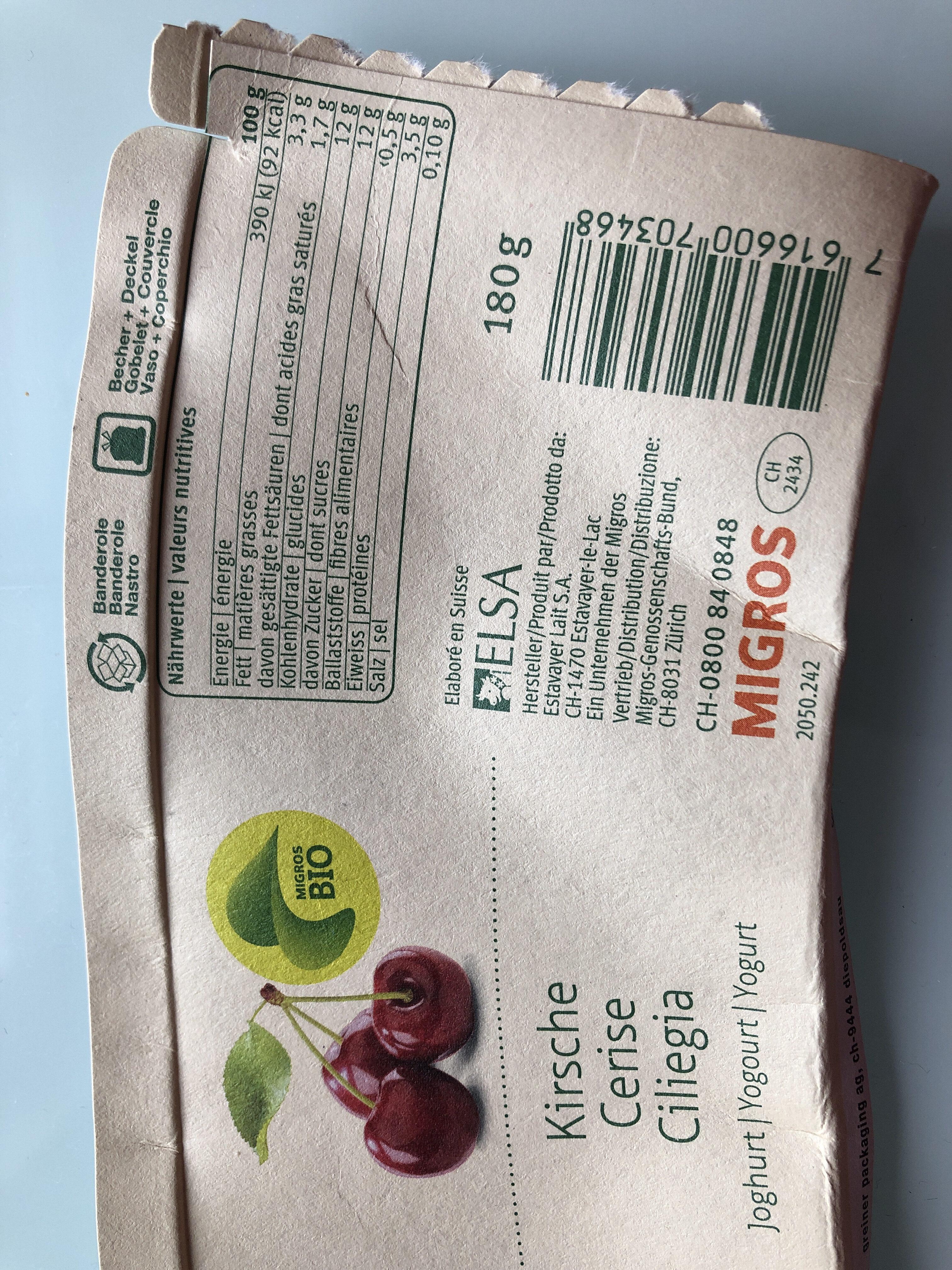 Cerise Yogourt - Nutrition facts - en