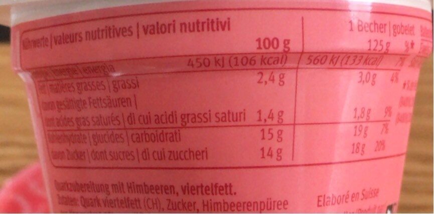 M classic - Nutrition facts - fr