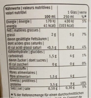 Drink Nature - Nutrition facts - fr
