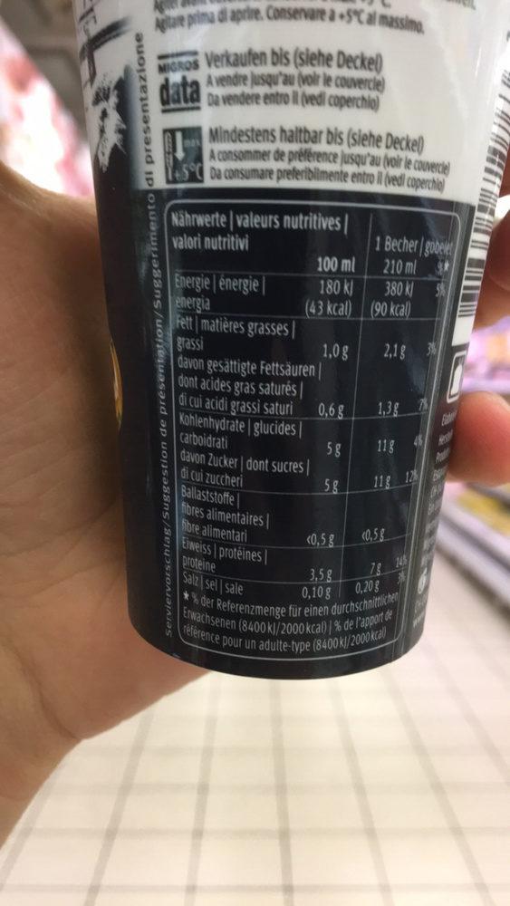 Grande café Zero - Nutrition facts - fr