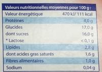 Yaourt saveur Fraise sans lactose - Nutrition facts - fr