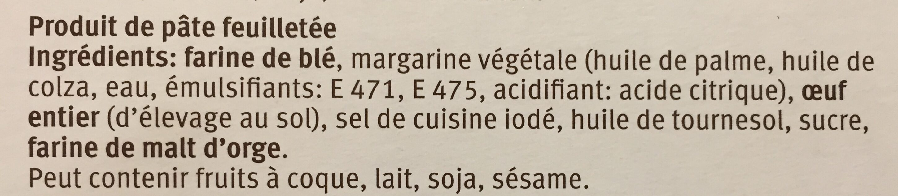 Migros Pastetli - Ingrédients - fr