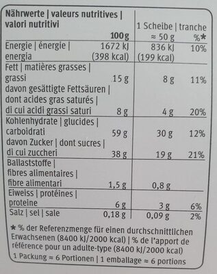 Roulade Marbrée - Nutrition facts
