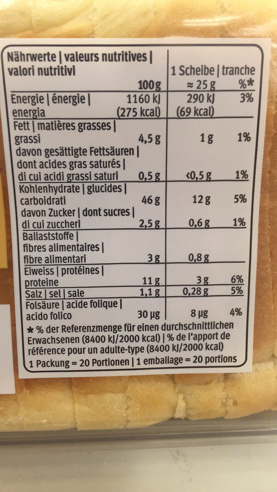 Toast soleil - Informations nutritionnelles