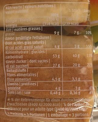 Birnweggli - Informations nutritionnelles - fr
