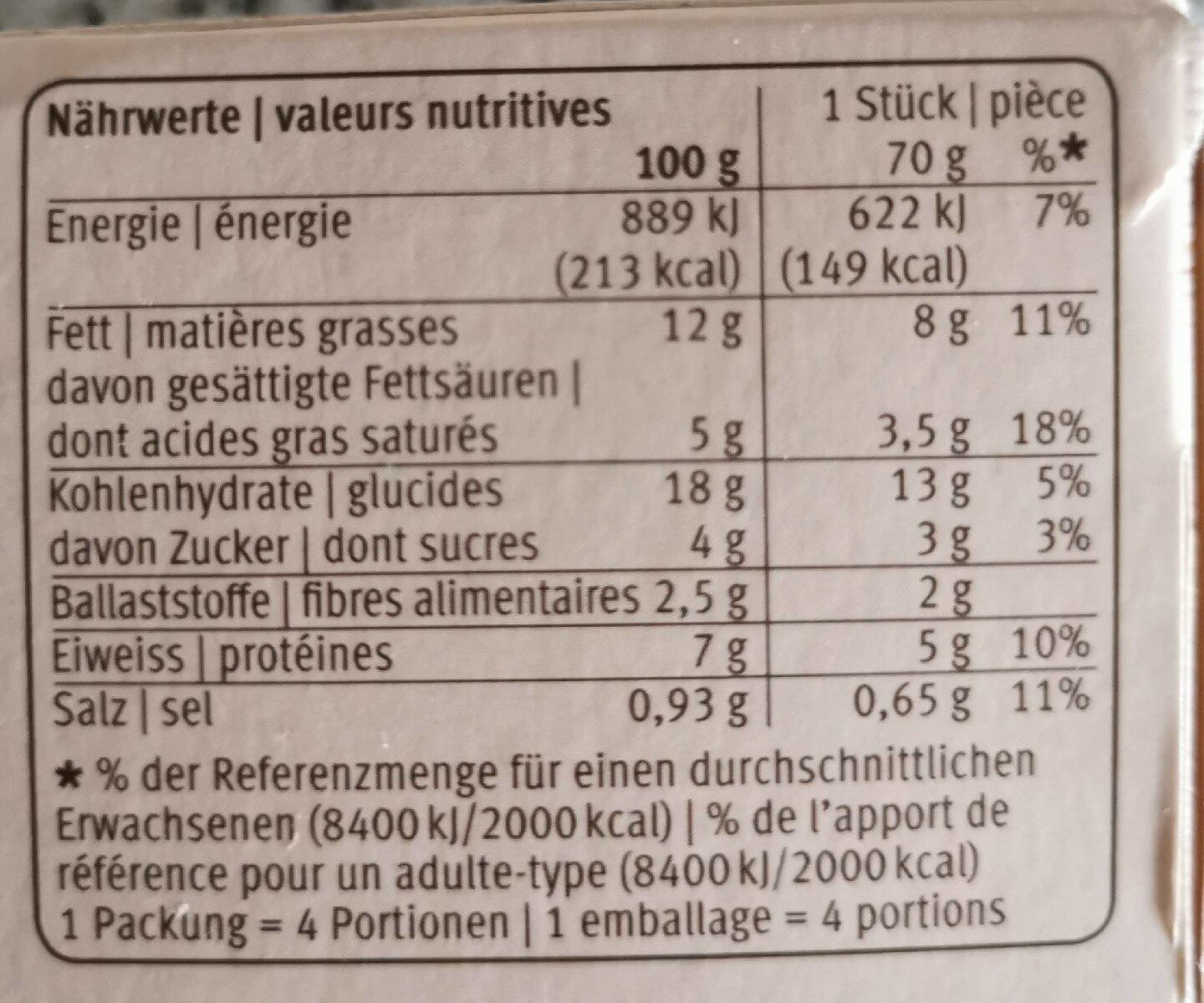 Ramequin aux oignons - Nutrition facts - fr