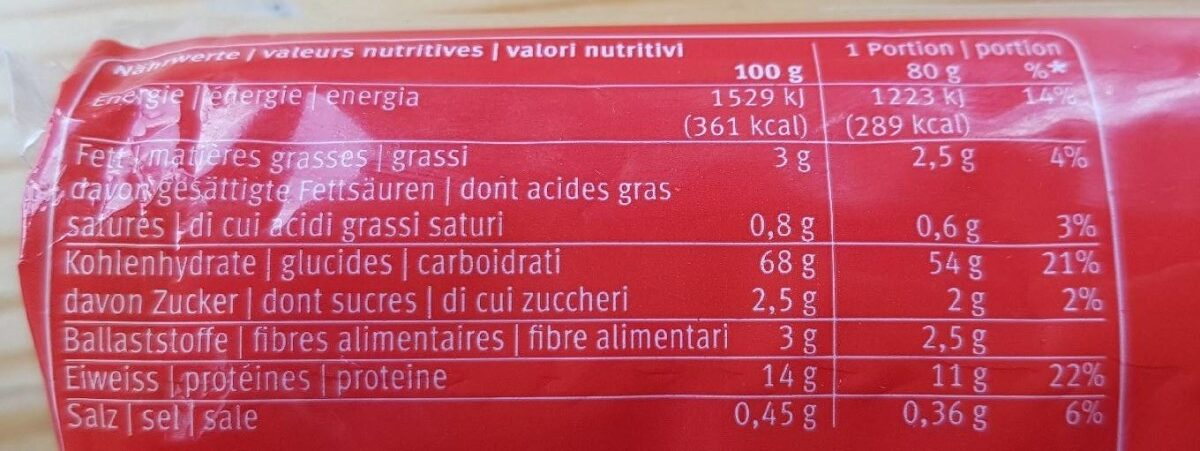 Spaghettini - Informations nutritionnelles - fr