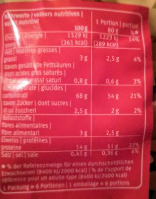 Frisettes nouilles - Nutrition facts