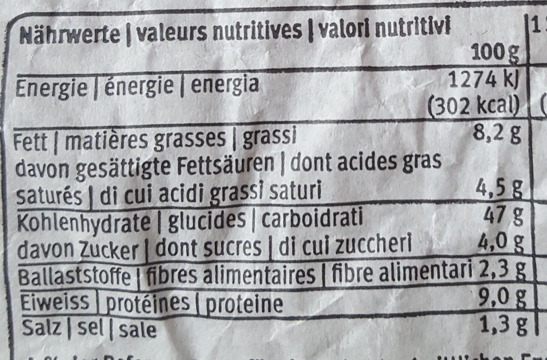 Migros Tresse au beurre 300g - Informations nutritionnelles - fr