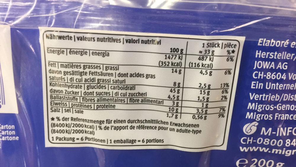 Croissants Précuits au Beurre - Informazioni nutrizionali - fr