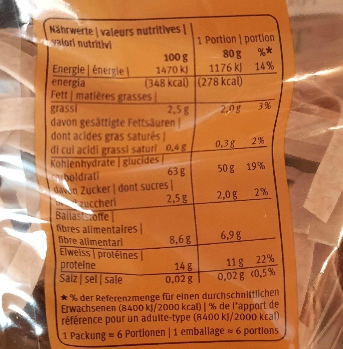 Tagliatelle d'épeautre - Valori nutrizionali - fr