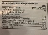 Tourte flocons - Voedingswaarden
