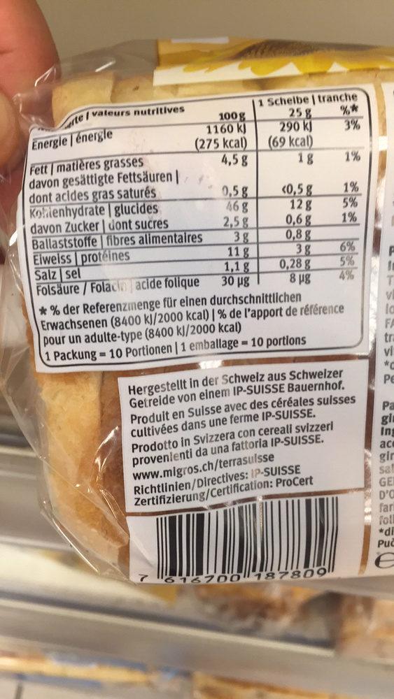 Tostbrot Soleil - Informations nutritionnelles