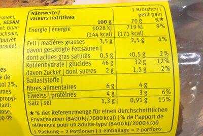 Aha Ciabatta Rustica - Nutrition facts