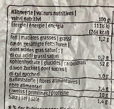 Pain bucheron - Informations nutritionnelles - fr