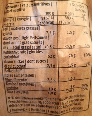 Baguette du four à pierre - Valori nutrizionali - fr