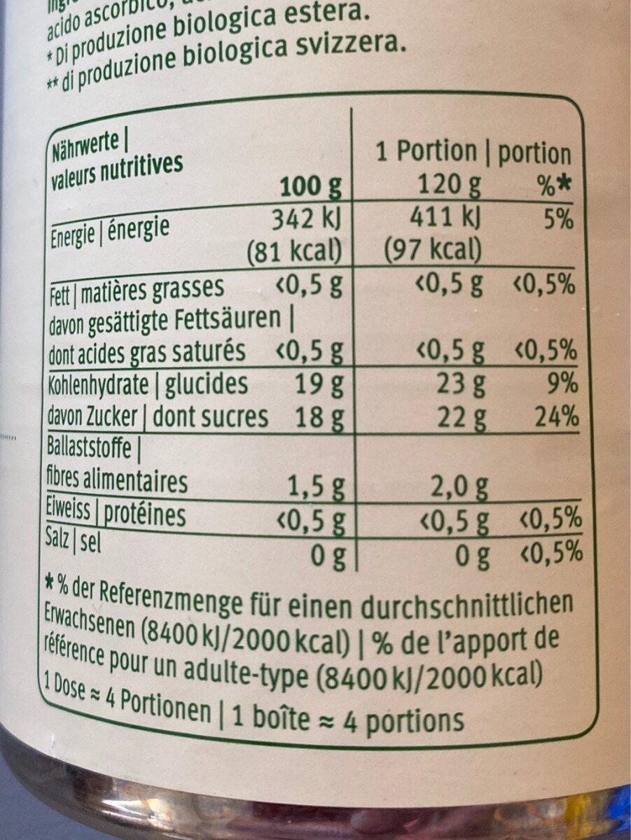 Purea di mela Compote de pommes - Valori nutrizionali - de