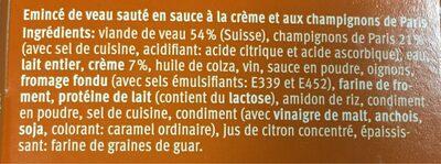 Emincé de veau - Ingredients